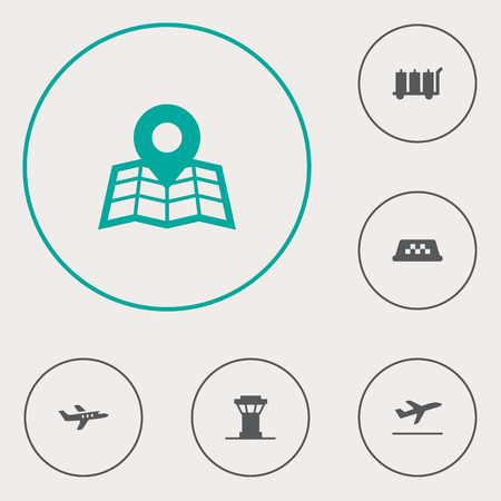 luggage carrier: Set Of 6 Airplane Icons Set. Collection Of Carriage, Leaving, Location And Other Elements.