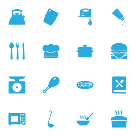 note paper: Set Of 16 Culinary Icons Set. Collection Of Cooking Instruction, Pepperoni, Broth And Other Elements.