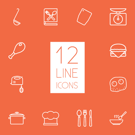 plate: Set Of 12 Culinary Outline Icons Set. Collection Of Soup, Hamburger, Cutlery And Other Elements.