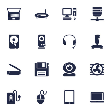 Set Of 16 Computer Icons Set. Collection Of Router, Diskette, Joystick And Other Elements.