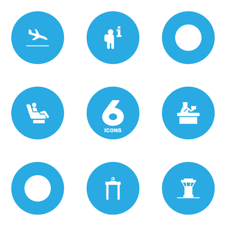 dispatcher: Set Of 6 Aircraft Icons Set. Collection Of VIP, Metal Detector, Data And Other Elements.