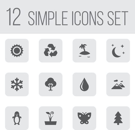 Set Of 12 Ecology Icons Set.Collection Of Solar, Tree, Polar Bird And Other Elements.