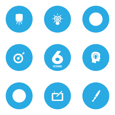 Set Of 6 Creative Icons Set.Collection Of Brush, Arrow, Idea And Other Elements.