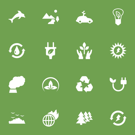 Set Of 16 Bio Icons Set.Collection Of Nature, Friendly, Car And Other Elements.