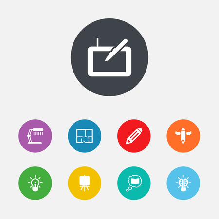 Set Of 9 Creative Icons Set.Collection Of Gadget, Science, Pen And Other Elements.