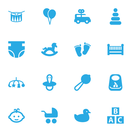 Set Of 16 Baby Icons Set.Collection Of Teat, Maraca, Pram And Other Elements.
