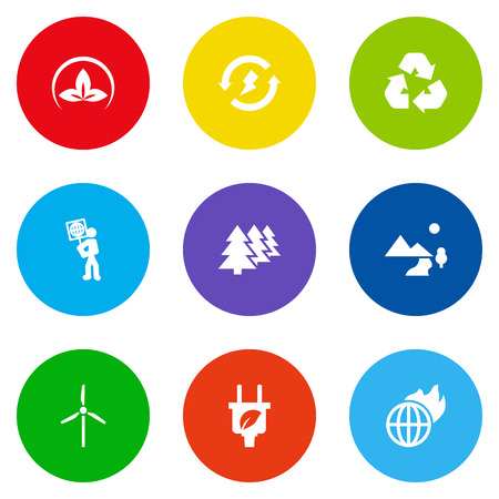 Set Of 9 Bio Icons Set.Collection Of Reforestation, Warm, Cleaning And Other Elements.
