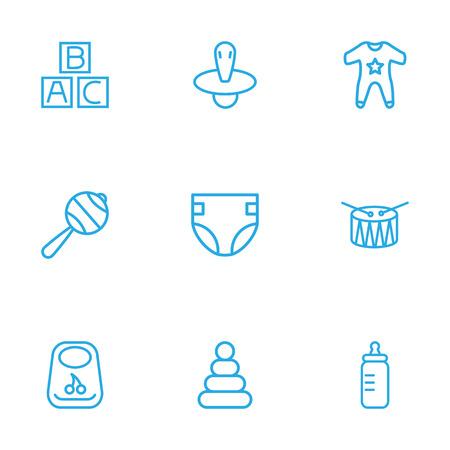 Zestaw 9 dzieci zestaw ikon kontur. Kolekcja grzechotki, piramidy, sutka i inne elementy.