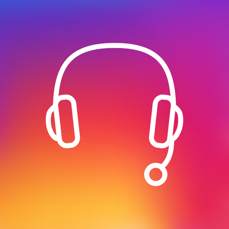 Isolated Headset Outline Symbol On Clean Background. Vector Headphone Element In Trendy Style.