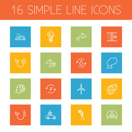 Set Of 16 Bio Outline Icons Set.Collection Of Renewable Energy, Eco, Dolphin And Other Elements. Ilustrace