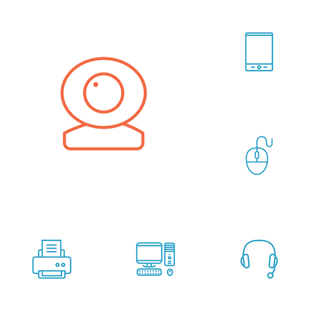 printout: Set Of 6 Computer Outline Icons Set.Collection Of PC, Computer Mouse, Headphone And Other Elements. Illustration