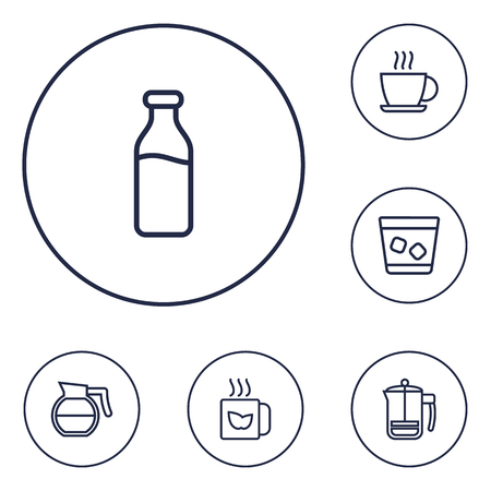 Set Of 6 Drinks Outline Icons Set.Collection Of French Press, Mug, Hot Drink And Other Elements.