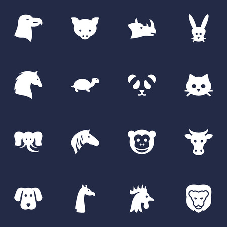 Set Of 16 Zoology Icons Set.Collection Of Hound, Wildcat, Rhinoceros And Other Elements. Illustration