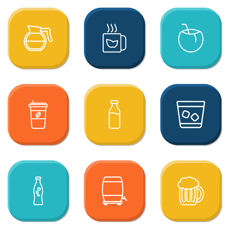ale: Set Of 9 Drinks Outline Icons Set.Collection Of Beer, Wine Cask, Soda And Other Elements.