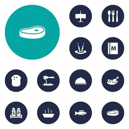 broth: Set Of 12 Restaurant Icons Set.Collection Of Broth, Canape, Silverware And Other Elements. Illustration