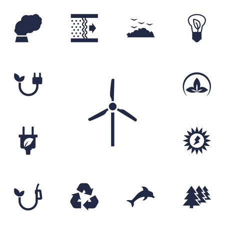 Set Of 13 Atmosphere Icons Set.Collection Of Energy, Cleaning, Leaf And Other Elements. Illusztráció