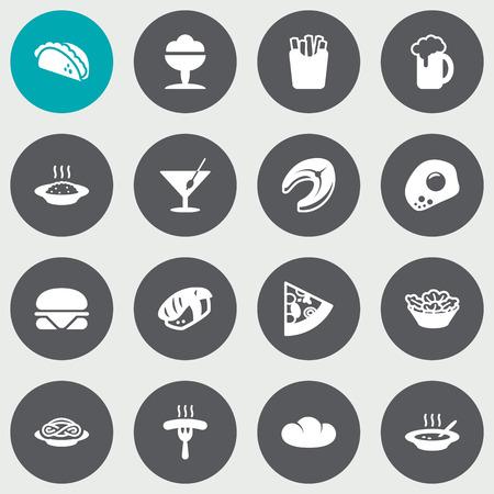Set di 16 icone del piatto Set. Collezione di spaghetti, sorbetto, rotolo giapponese e altri elementi.