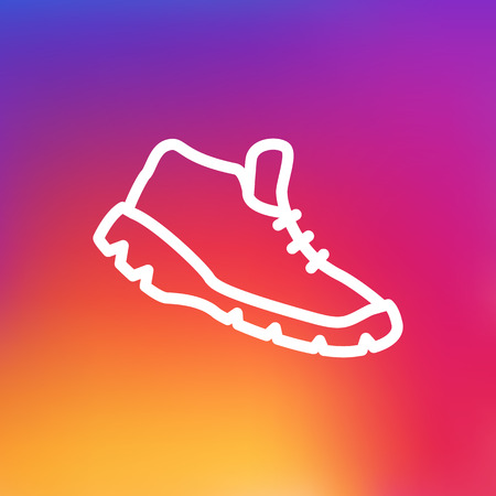 Isolated Sneakers Outline Symbol On Clean Background. Vector Trekking Shoes Element In Trendy Style.