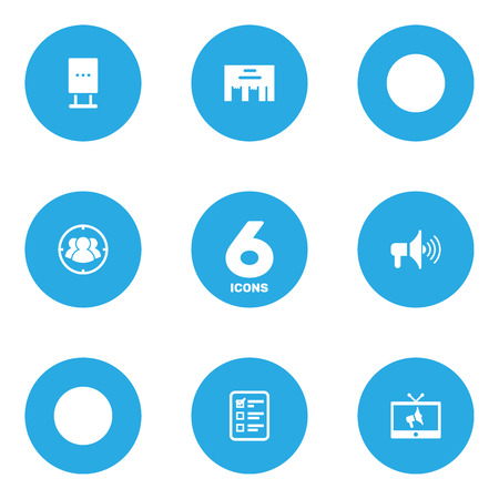 trapped: Set Of 6 Advertising Icons Set.Collection Of Bullhorn, Group, Billboard And Other Elements.
