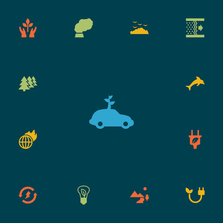 Set Of 13 Bio Icons Set.Collection Of Rubbish, Car, Nature And Other Elements. Иллюстрация
