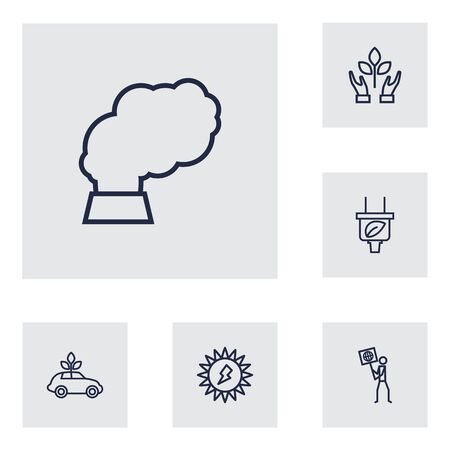 bolt: Set Of 6 Bio Outline Icons Set.Collection Of Nature, Pollution, Solar And Other Elements. Illustration