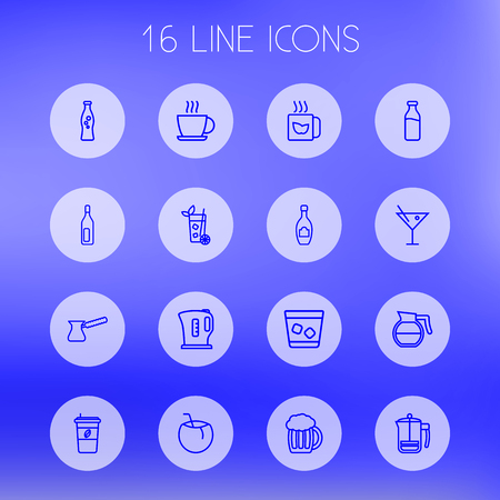 ale: Set Of 16 Drinks Outline Icons Set.Collection Of Bottle, Coconut, Mojito And Other Elements.