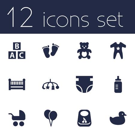 Set Of 12 Kid Icons Set.Collection Of Decoration, Milk, Breastplate And Other Elements. Ilustração