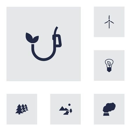 Set Of 6 Atmosphere Icons Set.Collection Of Saving, Eco, Reforestation And Other Elements.