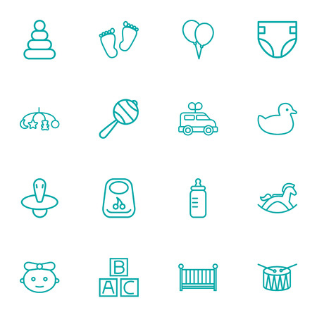 Set Of 16 Child Outline Icons Set.Collection Of Drum, Diaper, Crib And Other Elements. Ilustracja