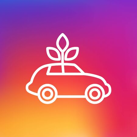 Isolated Car Outline Symbol On Clean Background. Vector Ecol Element In Trendy Style.