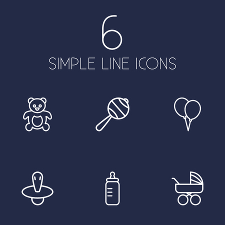 soothers: Set Of 6 Kid Outline Icons Set.Collection Of Nipple, Balloon, Bottle And Other Elements.