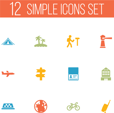 excursion: Set Of 12 Travel Icons Set.Collection Of Traveler, Palm, Bike And Other Elements.