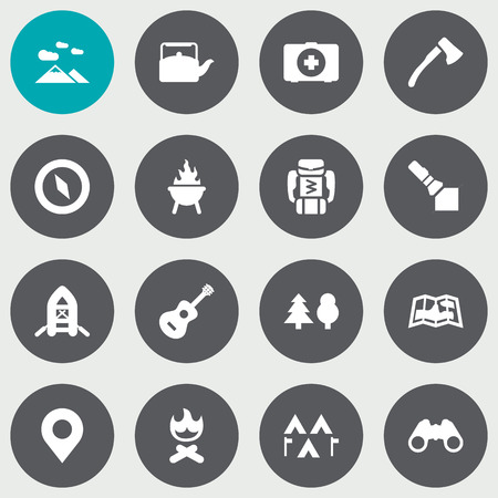 inspect: Set Of 16 Camping Icons Set.Collection Of Tree, Landscape , Map Elements.