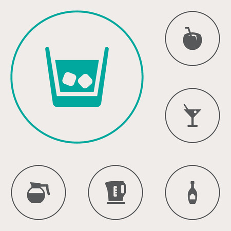 Set Of 6 Beverages Icons Set.Collection Of Martini, Electric Teapot, Alcohol And Other Elements.