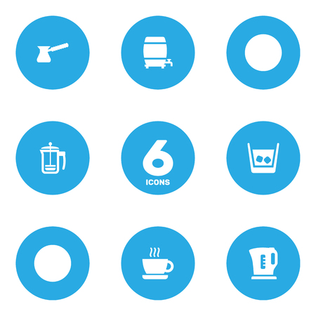 ferment: Set Of 6 Drinks Icons Set.Collection Of Cup, Cask, Turkish Coffee And Other Elements.