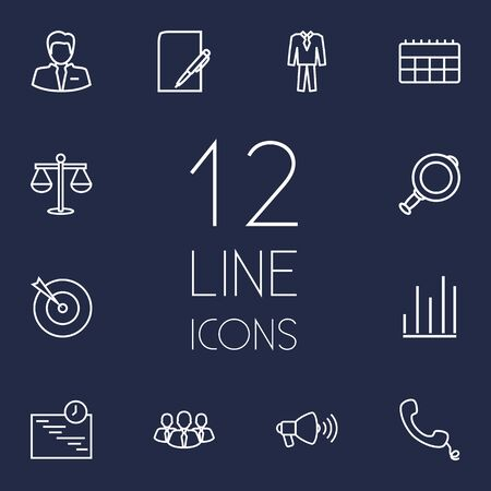 old telephone: Set Of 12 Trade Outline Icons Set.Collection Of Suit, Team, Calendar And Other Elements.