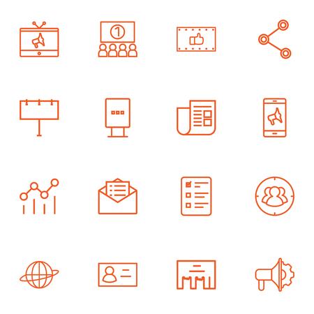 看板、キャンペーン、新聞、その他の要素の 16 貿易概要アイコン Set.Collection のセットします。  イラスト・ベクター素材