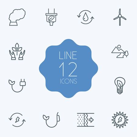 Set Of 12 Bio Outline Icons Set.Collection Of Solar, Wind Turbine, Air And Other Elements. Çizim