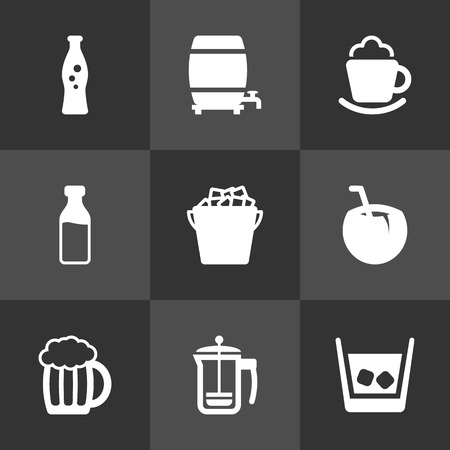ferment: Set Of 9 Beverages Icons Set.Collection Of Cocktail, Milk Glass, Cask And Other Elements. Illustration