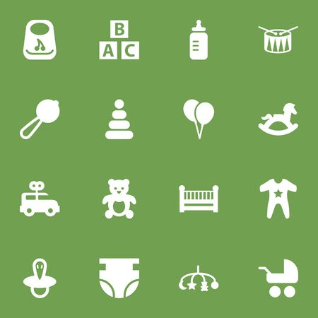 Set Of 16 Kid Icons Set.Collection Of Equine, Cot, Barrel And Other Elements.