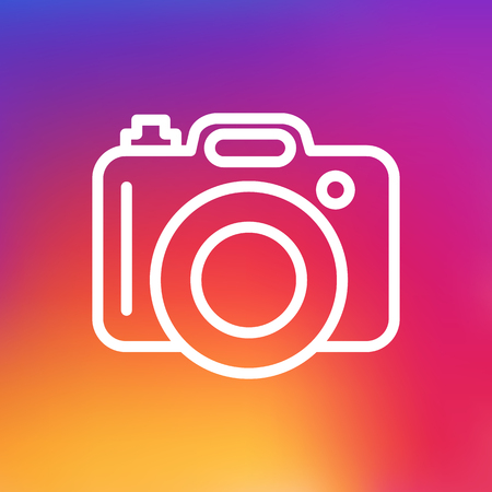 photographing: Isolated Photo Outline Symbol On Clean Background. Vector Dslr Camera Element In Trendy Style.