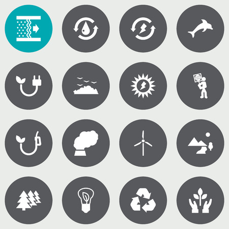oil lamp: Set Of 16 Bio Icons Set.Collection Of Contamination, Saving, Nature And Other Elements.