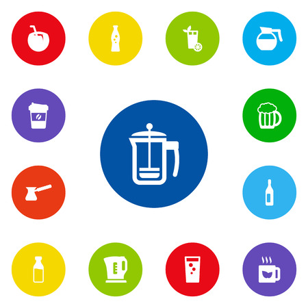 Set Of 13 Beverages Icons Set.Collection Of Fizzy Water, Green Tea, Soda And Other Elements. Ilustrace