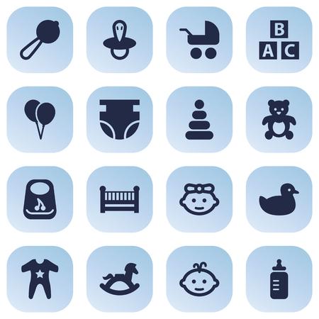 Set von 16 Baby Icons Set.Collection von Kinderbett, Kinderwagen, Kittel und andere Elemente. Standard-Bild - 81513280