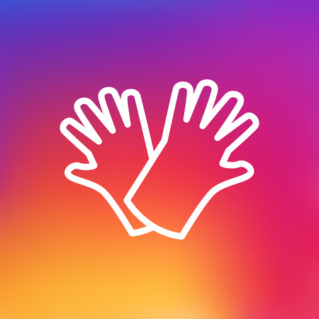 gloved: Isolated Gloves Outline Symbol On Clean Background. Vector Safer Of Hand  Element In Trendy Style.