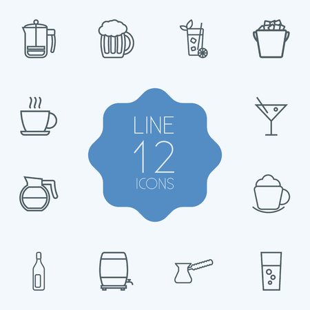 beers: Set Of 12 Drinks Outline Icons Set.Collection Of Coffeepot, Coffee, Wine Cask And Other Elements.