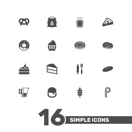 cherry wood: Set Of 16 Cooking Icons Set.Collection Of Cake, Loaf, Sweetmeat And Other Elements.