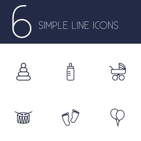 nursing bottle: Set Of 6 Child Outline Icons Set.Collection Of Drum, Footprints, Bottle And Other Elements.