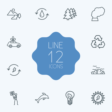 Set Of 12 Atmosphere Outline Icons Set.Collection Of Afforestation, Garbage, Pollution And Other Elements. Ilustrace