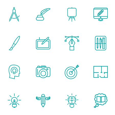 Set Of 16 Creative Outline Icons Set.Collection Of Graphic Tablet, Dividers, Drawing Tools And Other Elements.